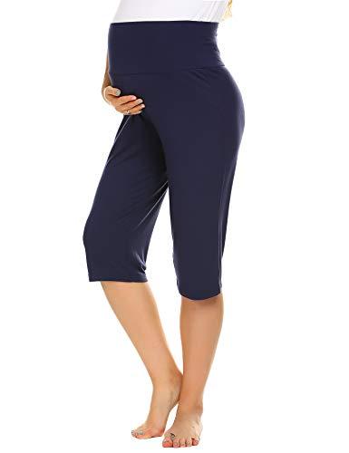 Balancora Damen Umstandshose 3/4 Hose Schwanger Schwangerschaftshose Hosen für Schwangere Umstandsshorts Unterhose kurz Sommer Yoga mit extra Bauch