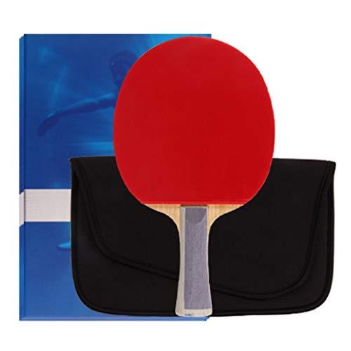 Liulu - Raqueta profesional de ping pong de ping pong con funda de transporte (color: rojo y negro, tamaño: horizontal)