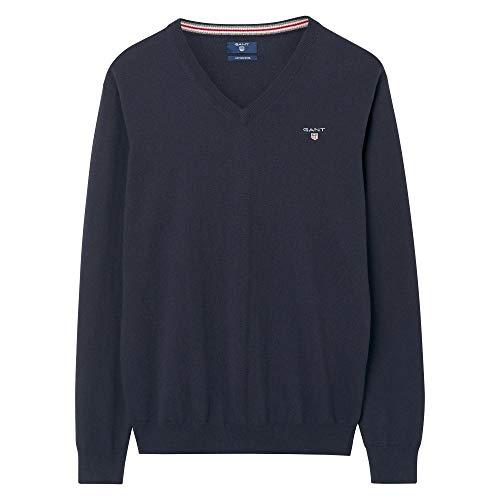 GANT Herren Pullover COTTON WOOL V-NECK, Blau (NAVY 405), Medium (Herstellergröße: M)