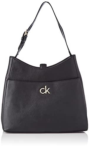 Calvin Klein Damen Re-Lock Hobo Md, Einheitsgröße, Schwarz - Größe: Medium