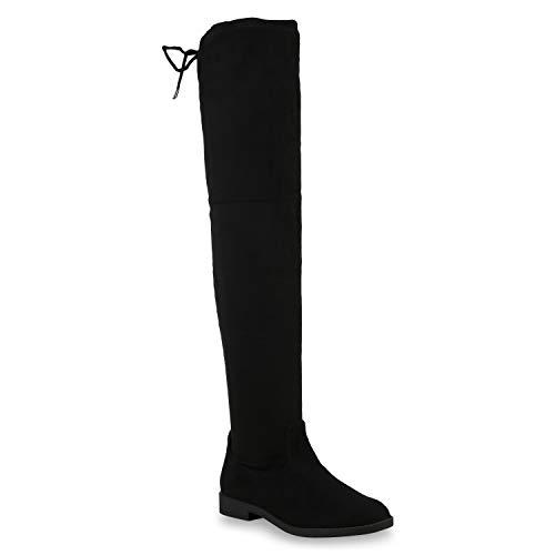 Damen Overknees Leder-Optik High Stiefel Boots Basic Look 172609 Schwarz Basic 40 Flandell