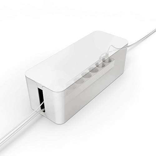 Boîte de rangement blanche PAZZiMO pour câbles de rallonge, cache-câbles en plastique élégant et robuste, organisateur de câbles avec pieds antidérapants, boîte à câbles pour cacher plusieurs prises