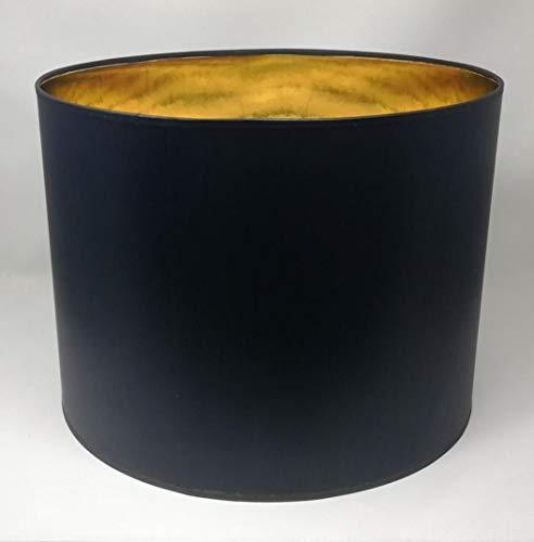 Lampenschirm Zylinder Form Schwarz Stoff Gold Futter Handarbeit Verschiedene Größen Deckenanhänger - Tisch (40 cm Durchmesser 30 cm Höhe)