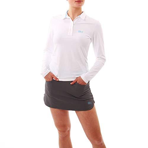Sportkind Mädchen & Damen Tennis, Golf, Sport Poloshirt Langarm, atmungsaktiv, UV-Schutz UPF 50+, Weiss, Gr. M