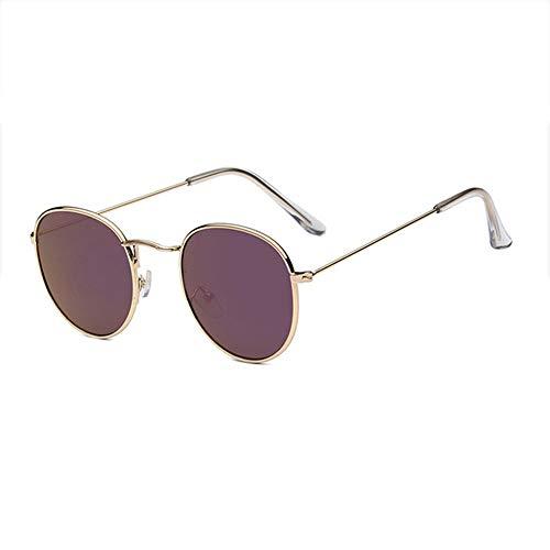 WPHH Gafas De Sol Clásicas Y Pequeñas con Montura Redonda para Mujer Hombre Gafas De Sol con Espejo De Aleación Gafas De Sol Vintage,Gold Violet