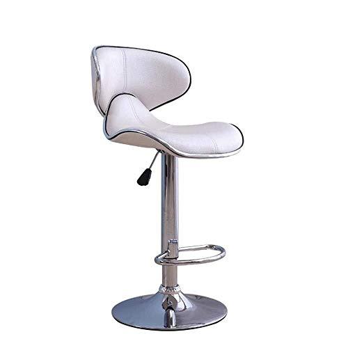 Taburete de bar moderno simple creativo giratorio levantar la silla de diseñador de patas altas de cuero del asiento de la cafetería del mostrador del restaurante del sillón blanco