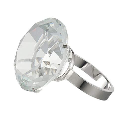 SUPVOX Cristal artificial anillo de diamantes grande accesorios de matrimonio regalo romántico del día de san valentín joyería de la boda decoración fiesta suministros de mesa decoraciones favor 80mm