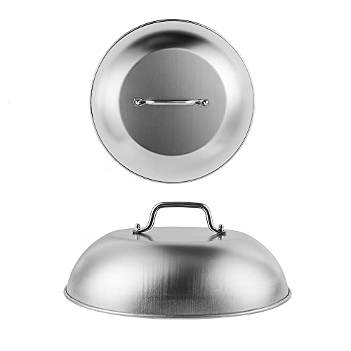 AJinTeby Heavy-Duty Cheese Melting Griddle Dome, 304 Stainless Steel Round Basting Cover Steaming Cove -Perfect for Flat Top Griddle Accessories Grill Cooking Indoor or Outdoor (12')