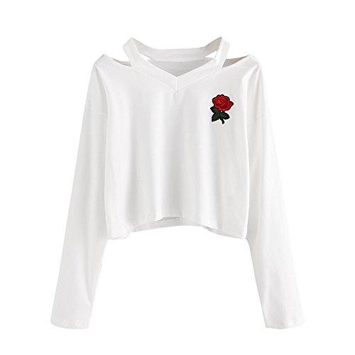Mujer Sudaderas Cortas Adolescentes Chicas Manga Larga Sudadera con Cuello en V Casual Tops Blusas Camiseta (Rose - Blanco, Small)