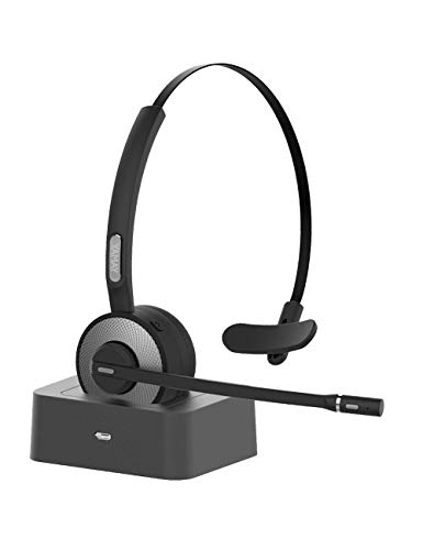 Bluetooth Headset, YAMAY Wireless Headset with Microphone (Noise Cancelling Mic) Charging Base Mute Button 19H Clear Talk Time Pro for Truck Driver Office Business Call Center Home Smartphones PC