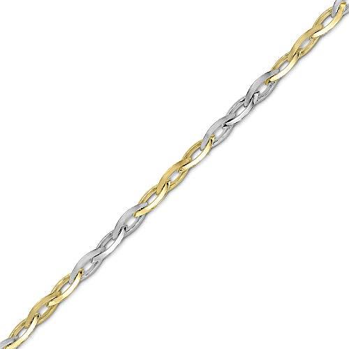 Jewelco Europa Pulsera con collar de barco ovalado en punta de oro...