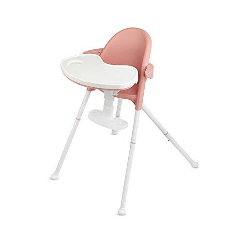 Kinderkraft kinderstoel PINI Ergonomisch Comfortabel Gevouwen Draagbare Voeding Babystoel met Afneembare Lade Verstelbare Hoogte en Voetsteun roze