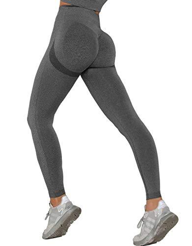 MANIFIQUE Workout Leggings Damen Seamless Butt Lifter Fitnesshose Blickdicht Kompressions Sportleggings Hohe Taille Yoga Tights Jogginghose Slim Fit Laufhose Bauchkontrolle Grau