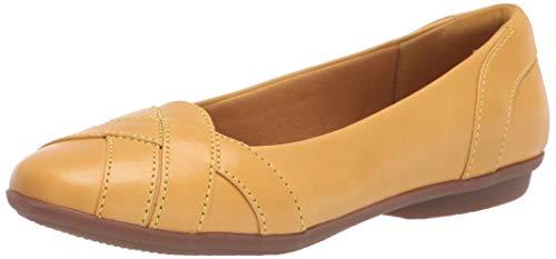Clarks Women's Gracelin Mia Ballet Flat, Yellow Leather, 95 W US