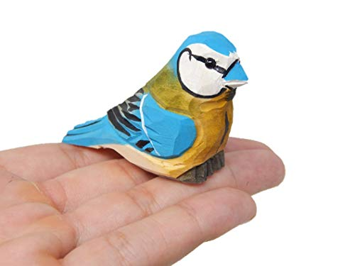 Blue Jay Wooden Carved Figure - Miniature  Handmade  Blue Bird  Bluejay  Small Animal