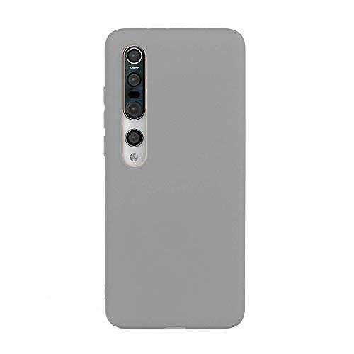 CUZZCASE Funda para Xiaomi Mi 10+{Protector de Pantalla de Vidrio Templado} Carcasa Silicona Suave Gel Rasguño y Resistente Teléfono Móvil Cover-Gris