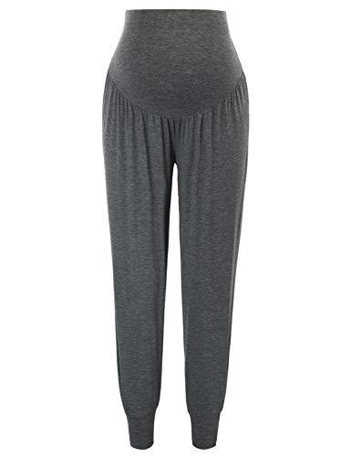 Maacie Mujer Pantalones Largos Anchos con Cintura Alta para Premamá 2XL 2036#5Gris Oscuro