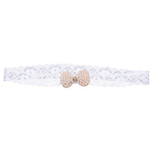 Bébé nouveau-né Infant en dentelle extensible Perle Mini bowknot Bandeau Diamant Hairband