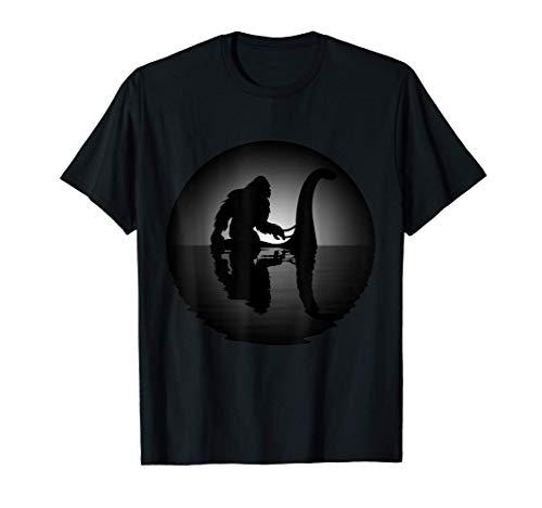 Bigfoot Riding on Nessie Loch Ness Monster Sasquatch T-Shirt