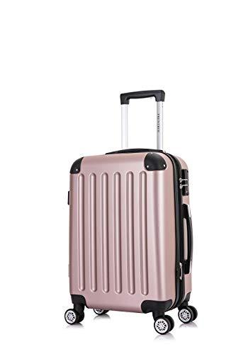Frentree Handgepäck Koffer | Reisekoffer | Hartschalenkoffer mit 4 Rollen und TSA-Schloss, erweiterbar, Koffer Standard Farbe:Rosa Gold, Koffer 226 Grösse:L(Mittelgroßer Koffer)