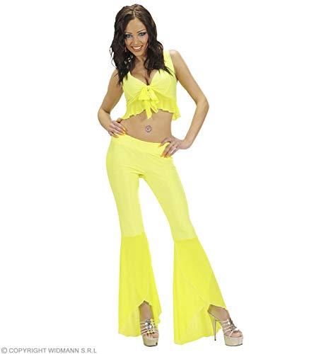 Samba Top En Broeken Neon Geel Kostuum Groot voor 70s Abba Thema Fancy Jurk