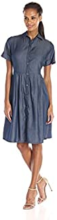 AGB Women's Short-Sleeve Contemporary Dress with Tucks