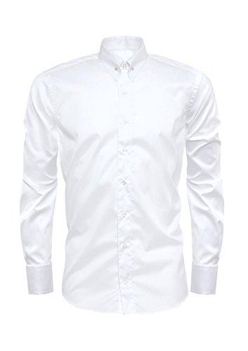 Giorgio Capone Herrenhemd mit Picadilly-Kragen, 100% Baumwolle, weiß, Umschlagmanschetten, Langarm, Slim & Regular Fit (L Reg mit Brusttasche)
