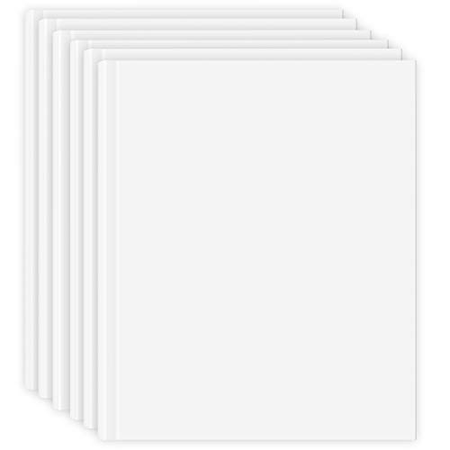 White Blank Books For Kids Students, 6 Pk Blank Hardcover Books To Write 8.5 Inch x 11 Inch