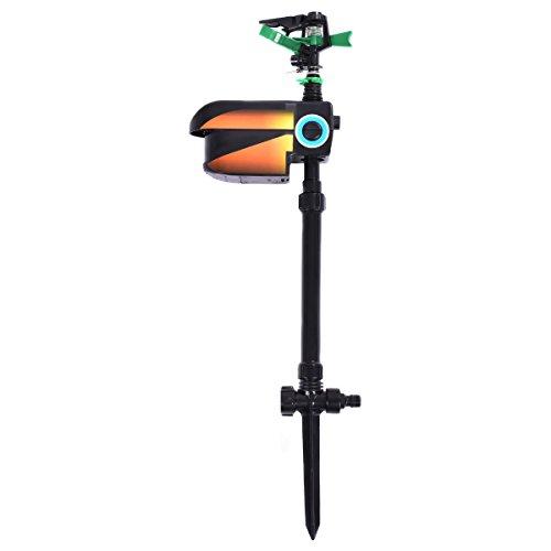 OHOJIDA Solar Powered Motion Activated Animal Repellent Sprinkler Black New