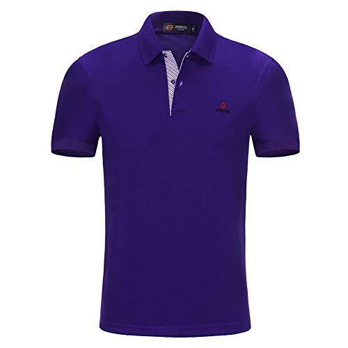 NISHISHOUZI Mens Polo Shirt Casual Slim Fit Polo Shirts Solides Manches Courtes Vêtements Fashion Polo Manche Courte Violet XL