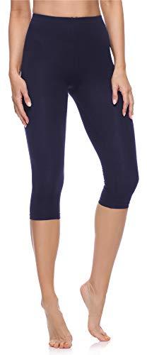 Merry Style Damen 3/4 Leggings aus Baumwolle MS10-199 (Marineblau, L)