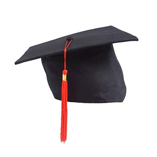 BESTOYARD Graduación roja Borla Gorra Estudiantes Ajustables Gorra Doctoral para Graduation Party Adultos Niños (Red Tassel)