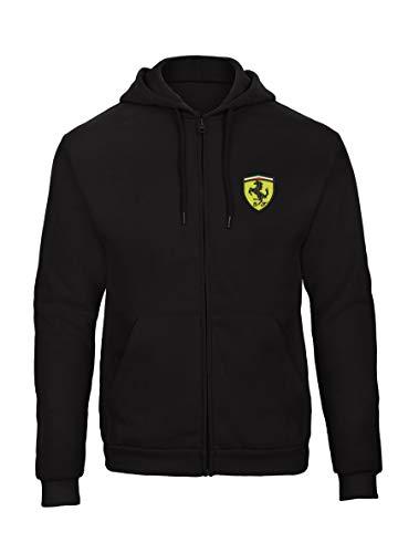 Ferrari Bestickte Logo Sweatjacken Kapuzenpullover mit Reißverschluss Premium Qualität - 9080 - SW (M)