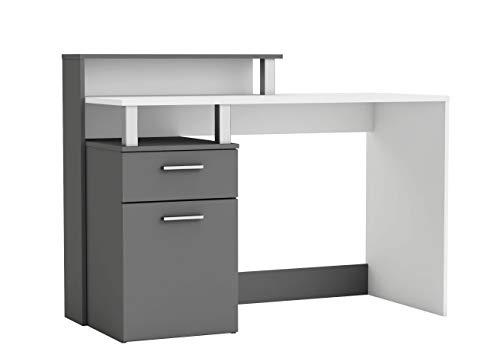 Miroytengo Mesa Escritorio moderno Moderno con Estante Puerta y cajón Color Blanco y Gris 121x55x91