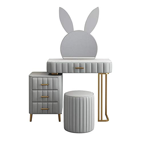 YXF Pink Rabbit Dressing Table with 4 Drawers, 1 Mirror and Stool Vanity Desk, Bedroom Furniture with Glossy Table