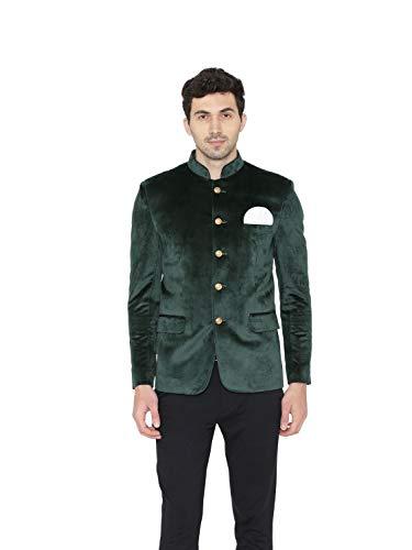 WINTAGE del Velluto di Cotone Solido Collo alla Coreana Uomo Etnica Bandhgala Jodhpuri Blazer: Verde, 44 / XL