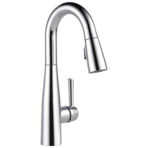 DELTA Essa Single-Handle Bar-Prep Kitchen Sink Faucet with Pull Down Sprayer and Magnetic Docking Spray Head, Chrome 9913-DST