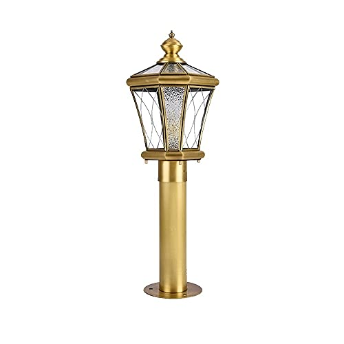 ZZYJYALG All Copper Glass LED Column Head Lights, Outdoor Waterproof and High Light Transmission, Ceramic Lamp Holders, Fence Lamps, Garden Landscape Lamps and Villa Lamps (Size : Large)