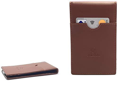RFID Wallet for Men, Genuine Leather, Slim Wallet, Minimalist Bifold Wallet, Credit Card Holder, Ergonomic Design, Ample Card Slots. (Leather, Brown)