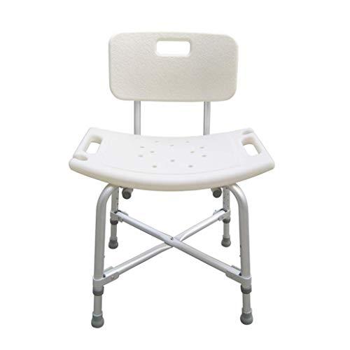 Taburete de ducha / asiento de baño Asiento de baño de acero inoxidable con respaldo, taburete de ducha de acero inoxidable ajustable en altura con patas de goma antideslizantes, capacidad de carga de