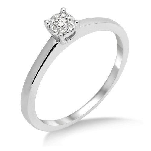 Miore Anillo de Oro Blanco de 18K con Diamantes para Mujer tamaño 18