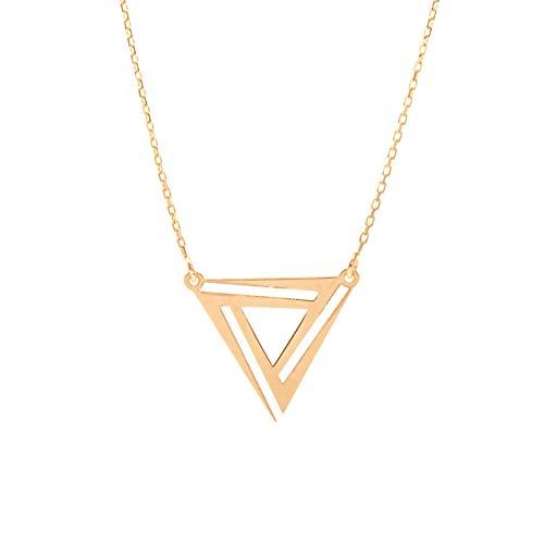 Goldene Damen Halskette 585 14k Gold Gelbgold Kette mit Anhänger geometrisches Dreieck Gravur
