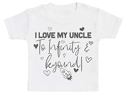 Zarlivia Clothing I Love My Uncle to Infinity & Beyond T-Shirts Bébé, Bébé Haut, Bébé garçon T-Shirts, Bébé Fille T-Shirts - 1-2 Ans Blanc