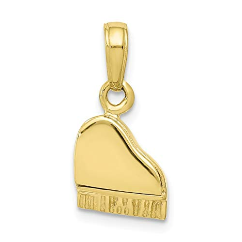 10k Goud 3-d Piano Hanger Deksel Open/Verplaatsbaar - Hogere Gouden Kwaliteit Dan 9ct Goud