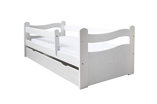 Kinderbett Jugendbett 140x70 oder 160x80 Massivholz Matratze Schublade Lattenrost (140x70, Weiß)