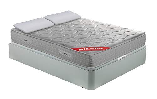 PIKOLIN Pack Colchón viscoelástico Espuma HR 150x190, canapé Base abatible Blanco con Dos Almohadas de Fibra, Incluye Subida a Domicilio, Montaje y Retirada de Usado