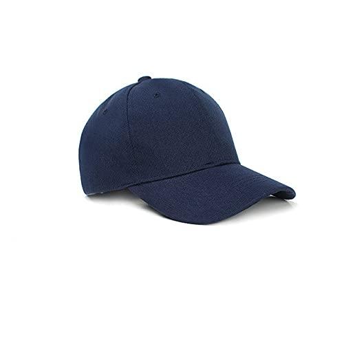 Gorra de béisbol de Color sólido con Visera Curva para Hombre y Mujer-Navy-Adjustable