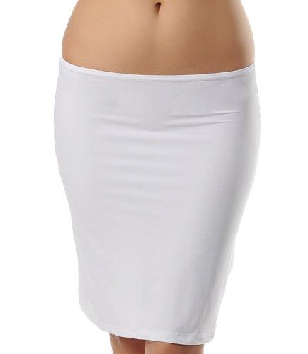 Doreanse Unterrock Midi Rock Unterkleid Blickdicht Jupon Soft Half Slip (XL - 42, Weiß)