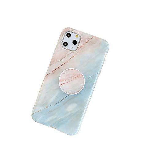 QfireQ Funda para iPhone 12/12 Pro/12 Pro Max/12 Mini Diseño de Mármol Parachoques de Protección Total y Soporte Portátil TPU Shell Cómodo Case Cover,Pink/Blue,12 Pro