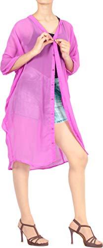 LA LEELA baño Gasa Encubrimiento Bikini Kimono Violeta_X696 ES TAMAÑO: 42 (L) - 52 (2XL)